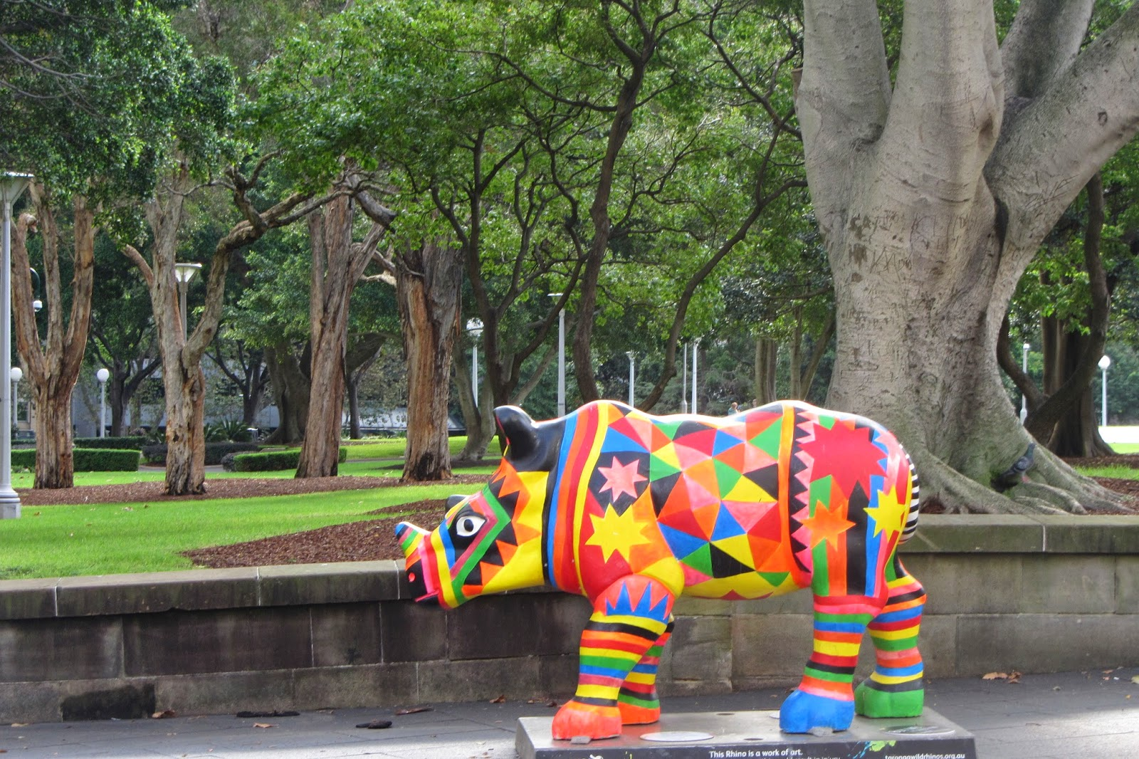 Rhinoceros sculpture in Hyde Park Sydney