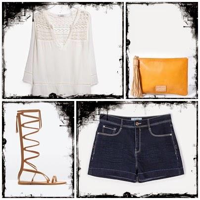 Calções d ganga, camisa branca, gladiadoras Zara e Stradivarius