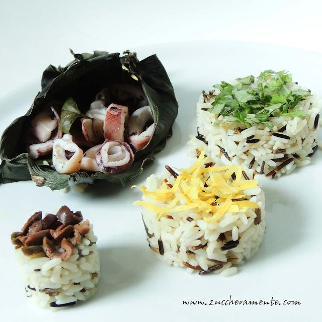 calamari cotti in foglia di banano con riso al vapore