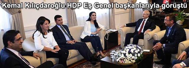 CHP Genel Baskani Kemal Kılıcdaroglu HDP Es Genel baskanlari Selahattin Demirtas ve Figen Yüksekdag ile görüstu