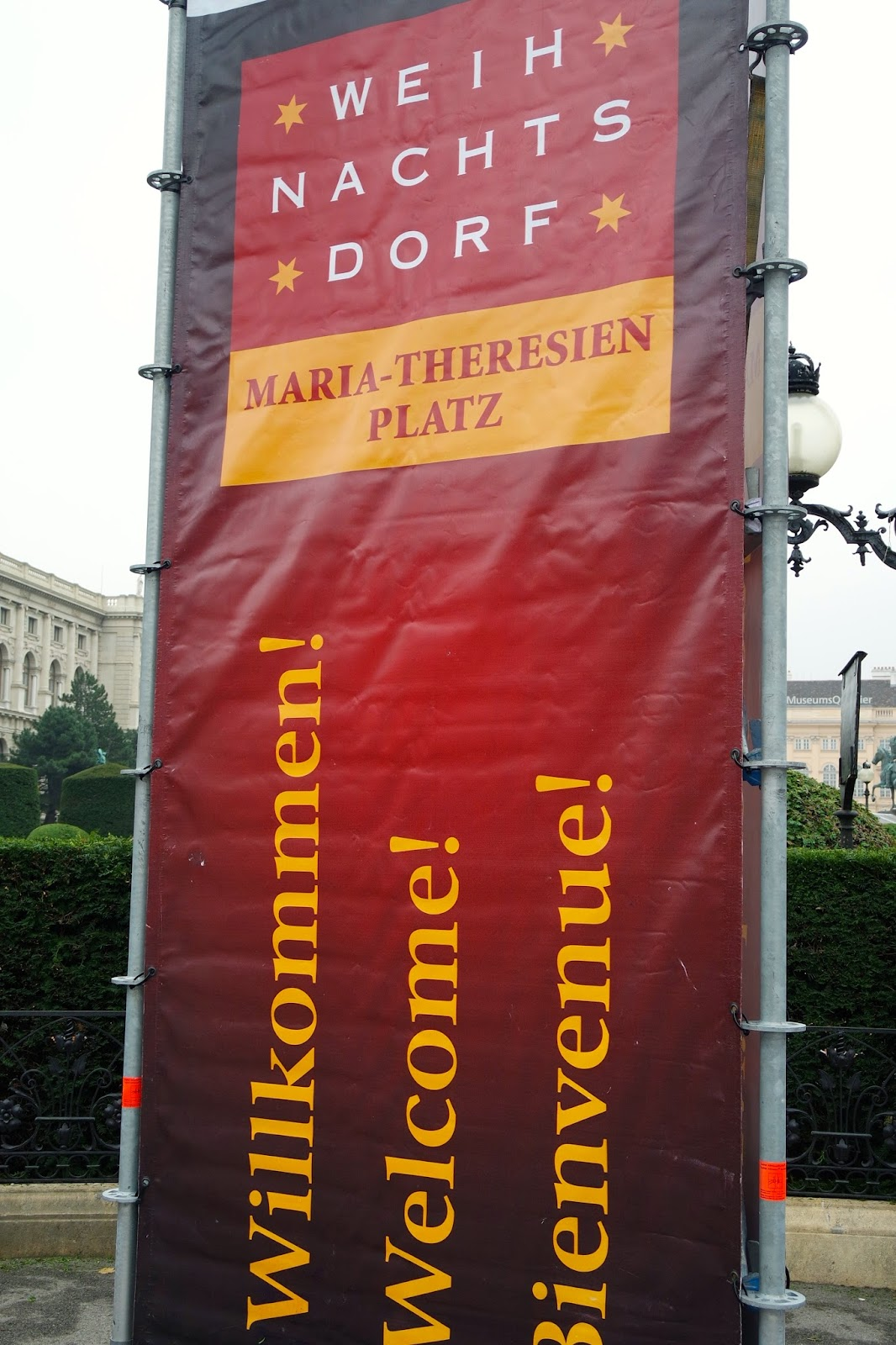 Welcome Sign Maria Theresien Platz Vienna Austria