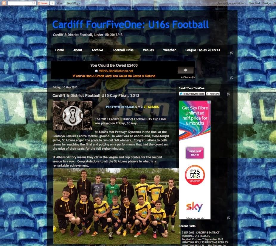 Cardiff FourFiveOne: Under 16 Football