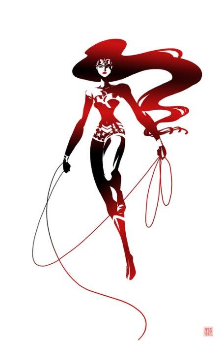 sho murase ilustrações singelas minimalistas espaço negativo mulheres super heroínas Mulher Maravilha