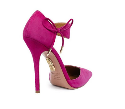 Aquazzura Pink high heel suede pumps with small bow