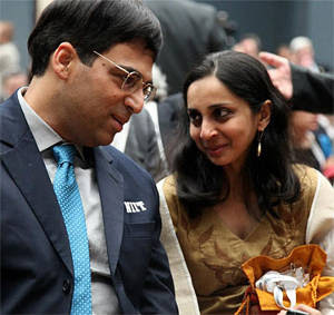 Echecs à Moscou : Vishy Anand et son épouse Aruna - Photo © Chessbase