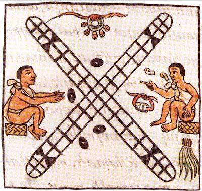 Dos personas jugando patolli F. B. Sahagun