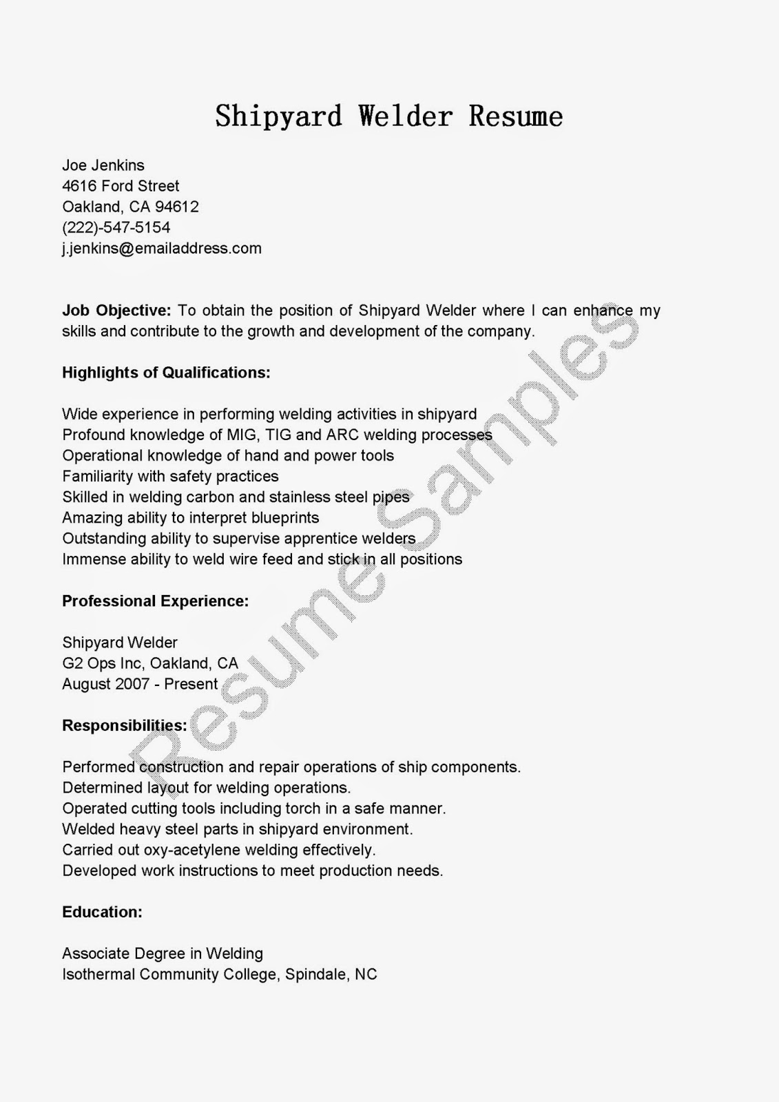 resume samples  shipyard welder resume sample