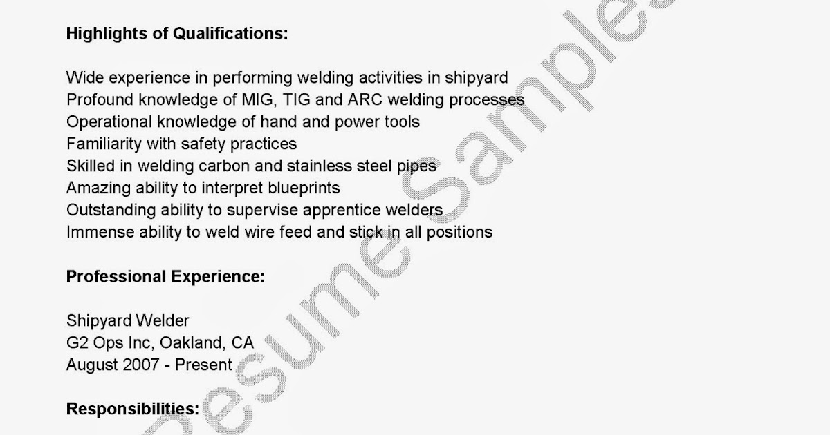 Welders Resume Resume CV Cover Letter