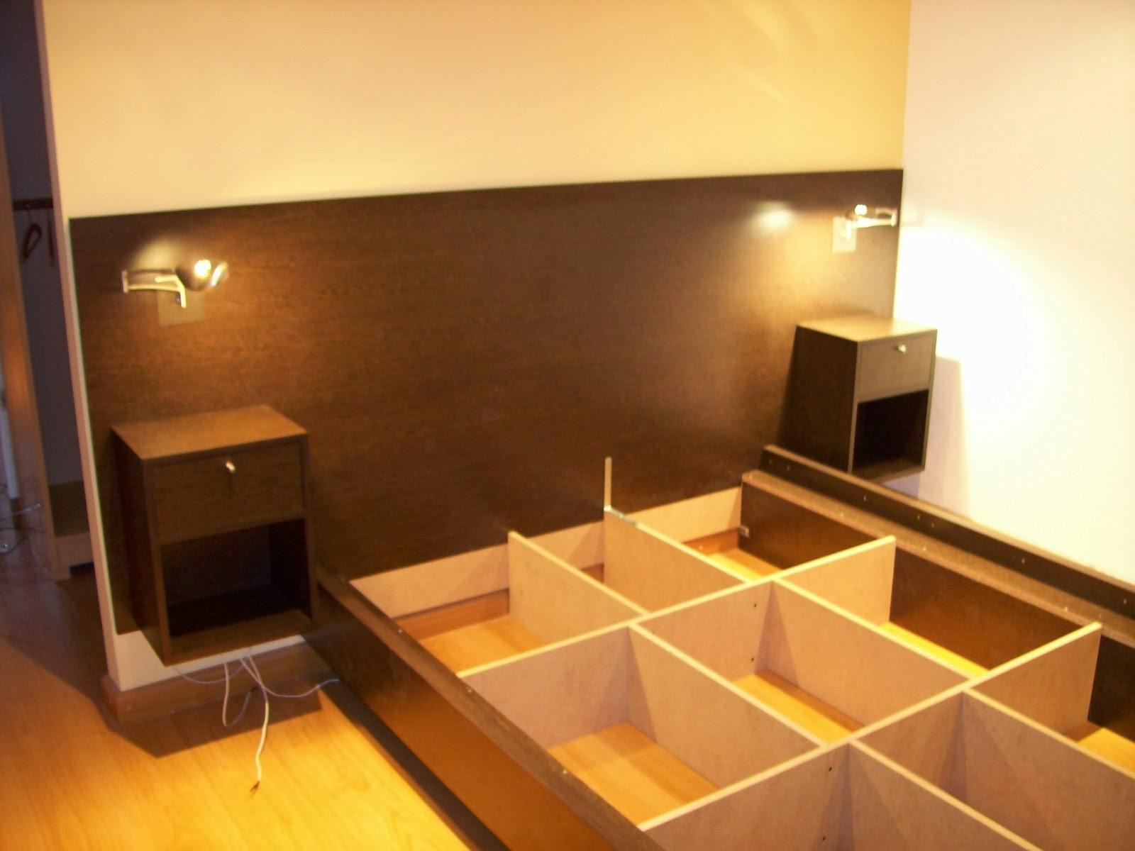 Cama respaldar mesa luz flotante muebles en melamina for Modelos de zapateras de melamina