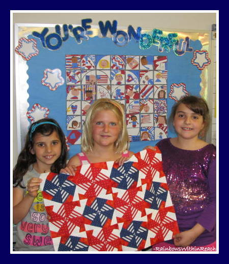 photo of: Comparing Quilted Picture Book Illustration to Student Artwork at RainbowsWithinReach