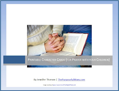 Free printable Scripture character cards for praying with your children
