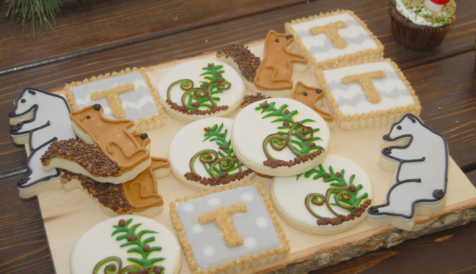 Woodland Baby Shower sugar cookies squirrels bears