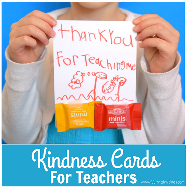 Kindness Cards for Teachers.  Simple act of kindness for children and parents to show teachers how much we appreciate them!
