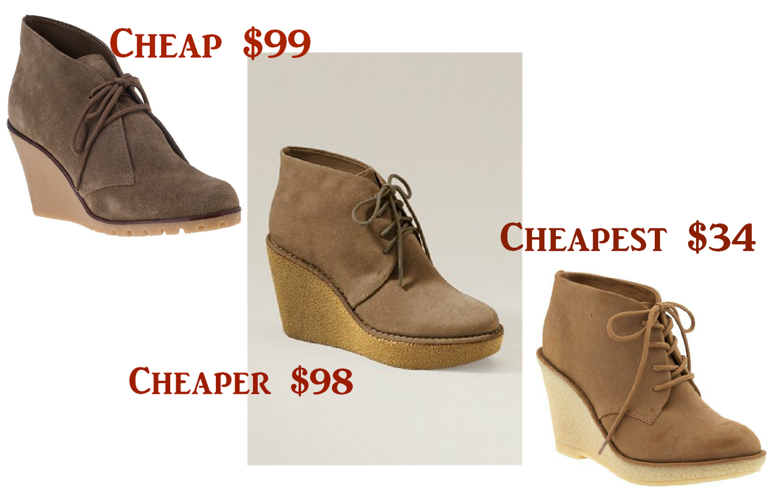 cheapalicious cheap cheaper cheapest wedge desert booties