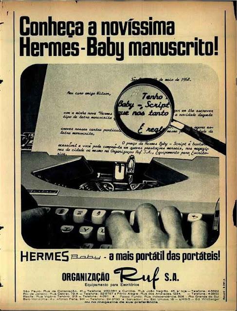 Propaganda antiga da máquina de escrever Hermes Baby. Modelo portátil com tipos manuscritos.
