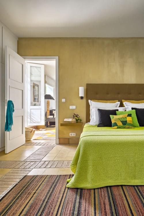 dormitorio tonos verdes