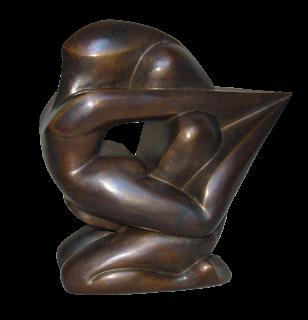 Style contemporain Un homme assis sur ses jambes tient une femme cambrée, comme une proue de navire
