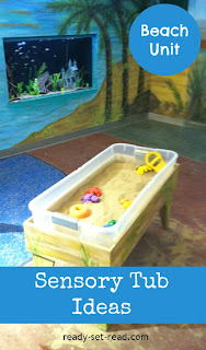 preschool beach unit, sensory tubs
