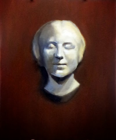 Oil painting of a white plaster cast taken from a young woman's death mask.