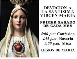 Primer Sabado De Cada Mes en la Iglesia de Nuestra Senora de Guadalupe