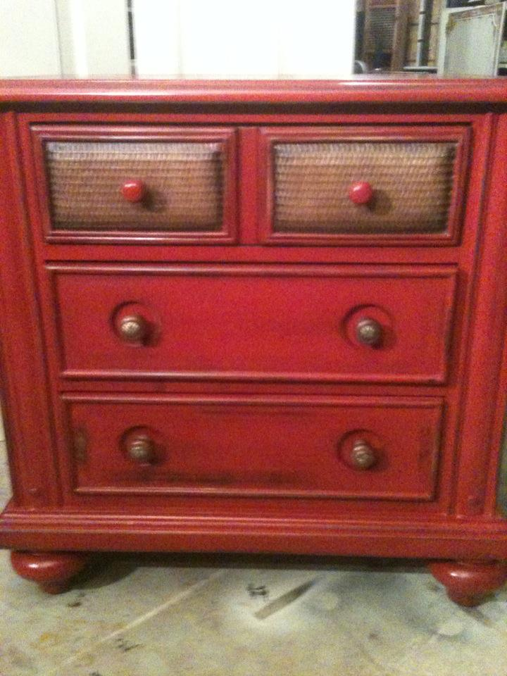 Furniture by mk designs distressed colonial red chest for Distressed furniture