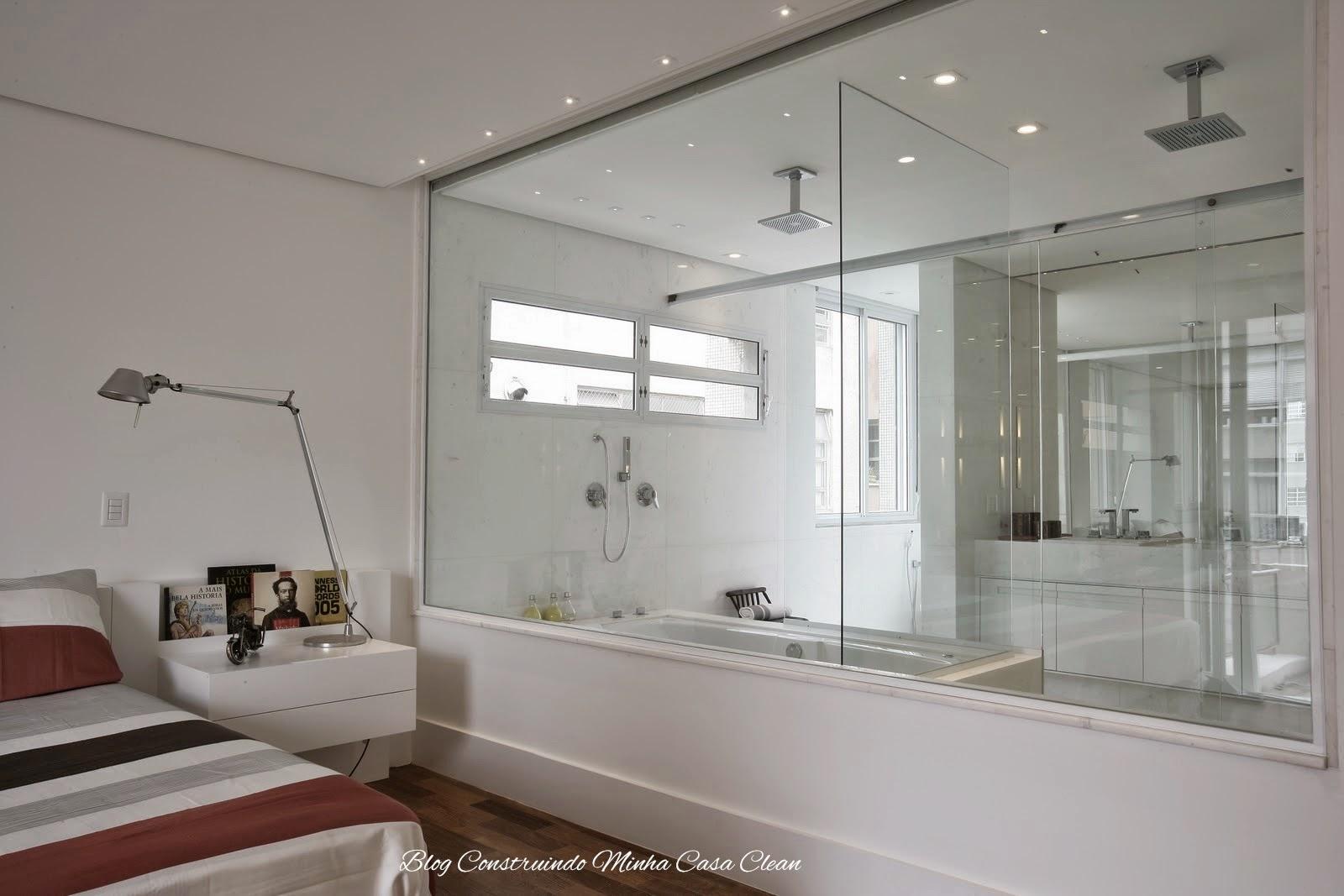 Minha Casa Clean: Quartos Integrados com Banheiros de Vidros #402C23 1600x1067 Banheiro Com Banheira E Tv