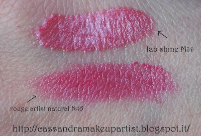 TECHNICOLOR - Make Up For Ever - Mufe - palette - Swatch - colori - lab shine m14 - rouge artist naturelle n45