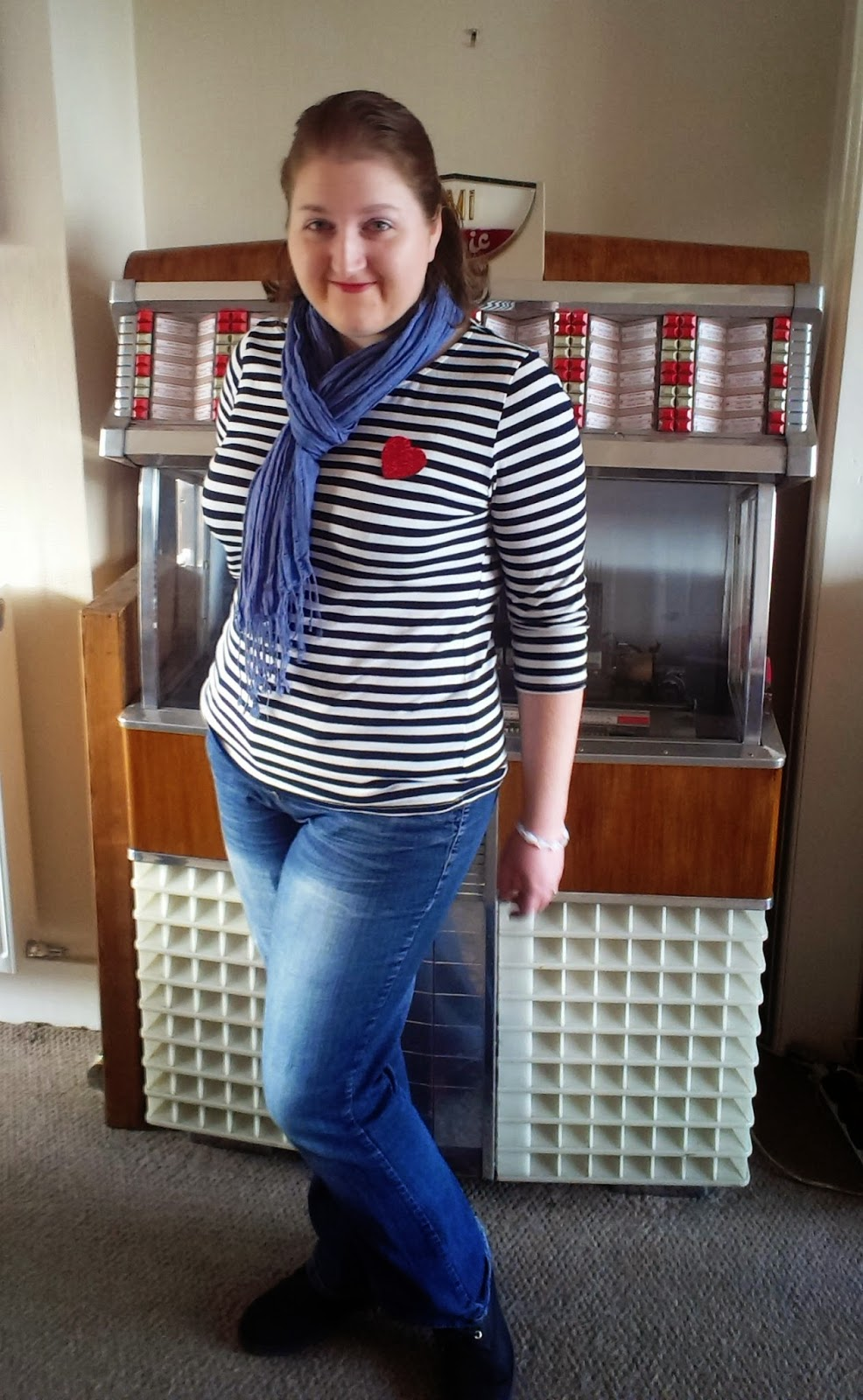 Breton top and scarf with Lucky Dip Club brooch