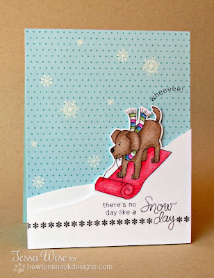 Dog Snow Day card by Tessa Wise for Newton's Nook Designs