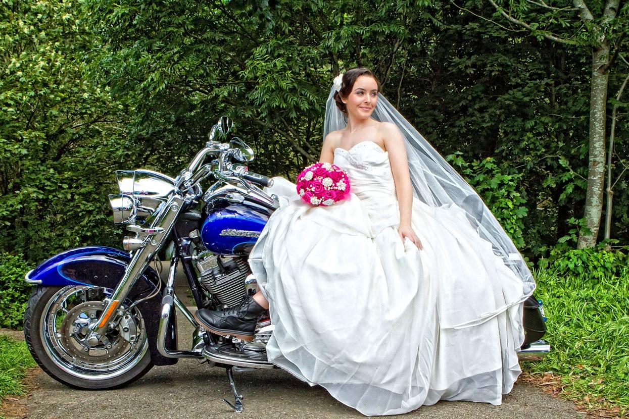 bushy park brooch bouquet harley harley davidson wedding dresses Bride on a motor bike