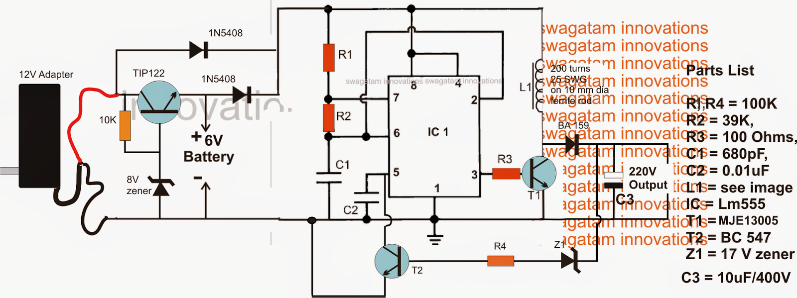 6v To 220v Schematic Circuit Diagram - 6v To 220v Inverter Circuit Diagram