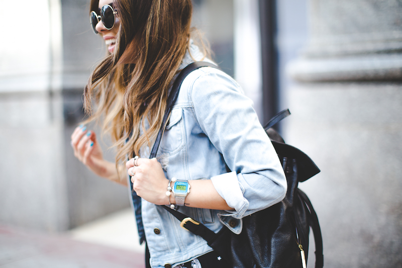 moon sun dress, boohoo, zooshoo, jean jacket, forever 21, round sunglasses, leather backpack, timex, silver watch, fashion blogger, miami fashion blogger, nanys klozet