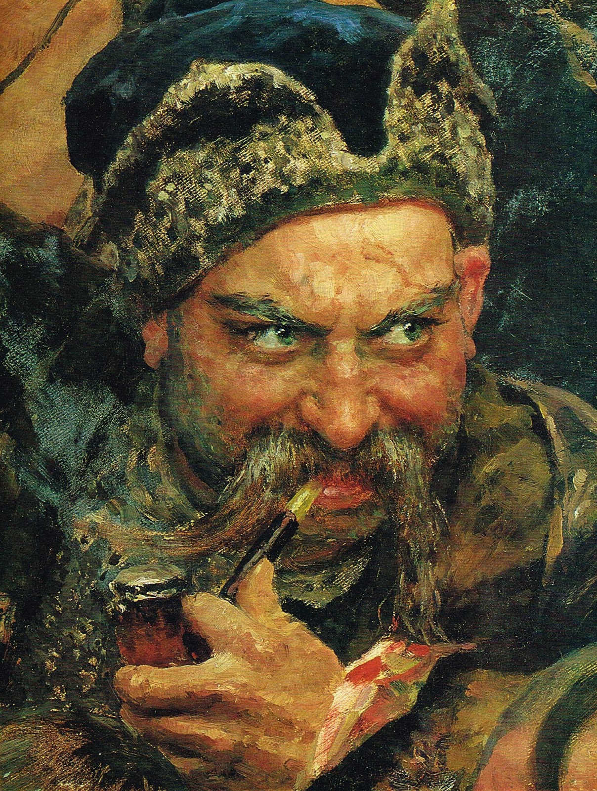 Ilya Repin, a detail from The Zaporozhian Cossacks write a letter to ...