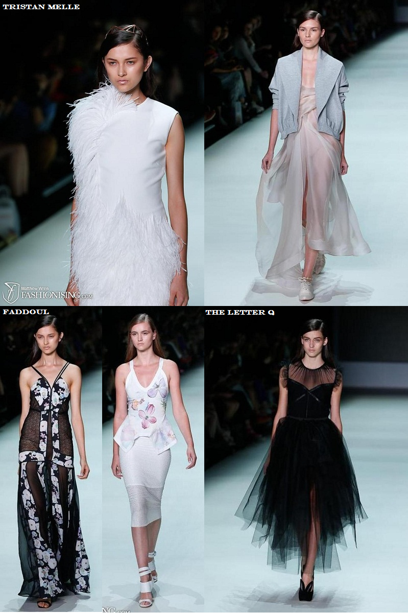MBFWA, New Generation, Tristan Melle, Faddoul, The Letter Q, florals, pastel, tulle, gown, SS 2013/14, runway, silk organza, feathers