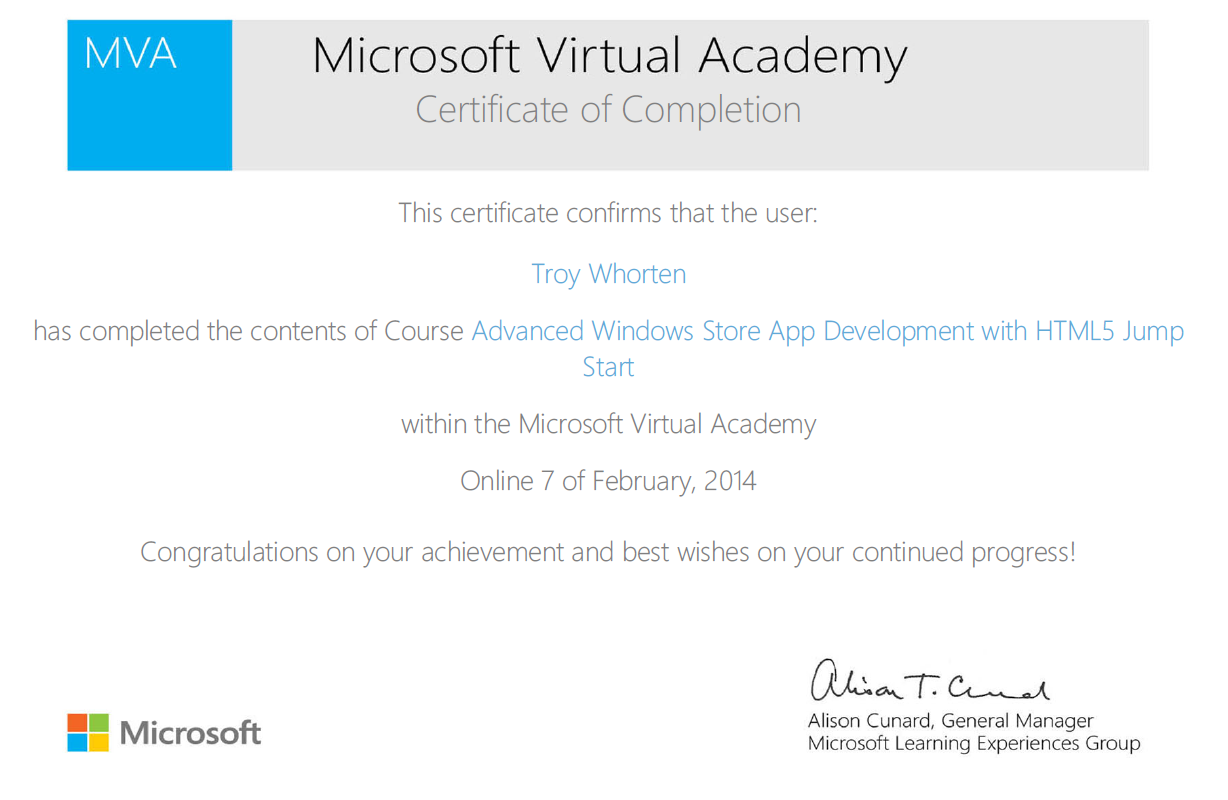 Failed the turing test mva course advanced windows store app the certificate of completion is pretty farcical for this course considering there wasnt a single test i actually showed 100 progress before i even 1betcityfo Image collections
