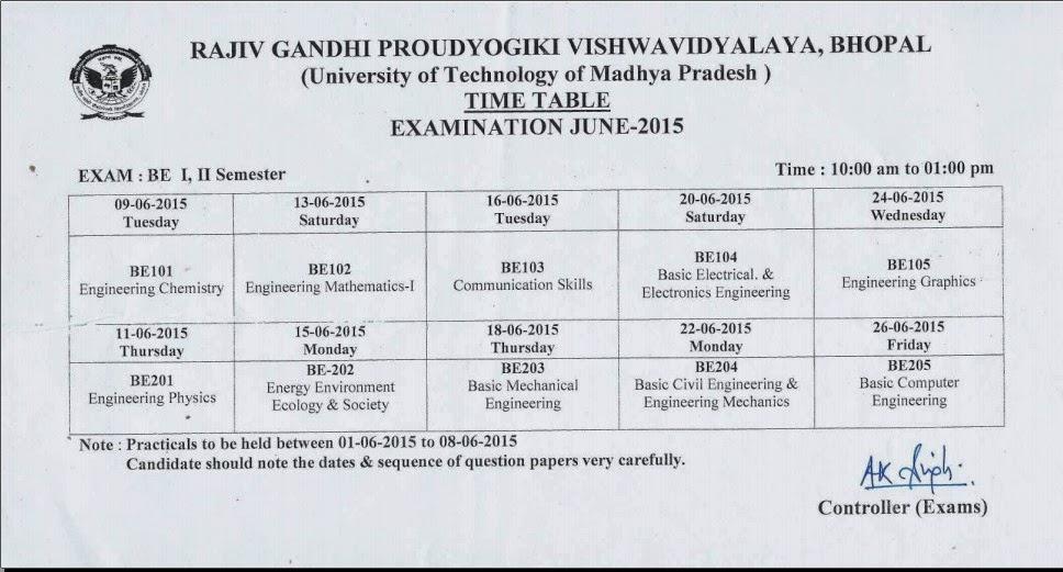 Rajiv gandhi proudyogiki vishwavidyalaya rgpv b e 1st sem for Rgpv time table 4 th sem 2015