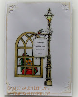 Digital Stamps - Street Lamp, Christmas gifts and window, card by Jen