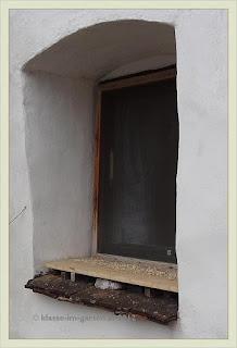 Regengeschütztes Vogelfutter in Fensterlaibung
