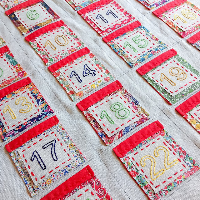 Liberty advent calendar pockets stitched in place