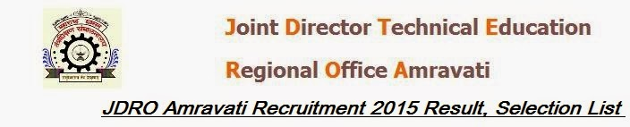 JDRO Amravati Recruitment 2015 Result, Selection List