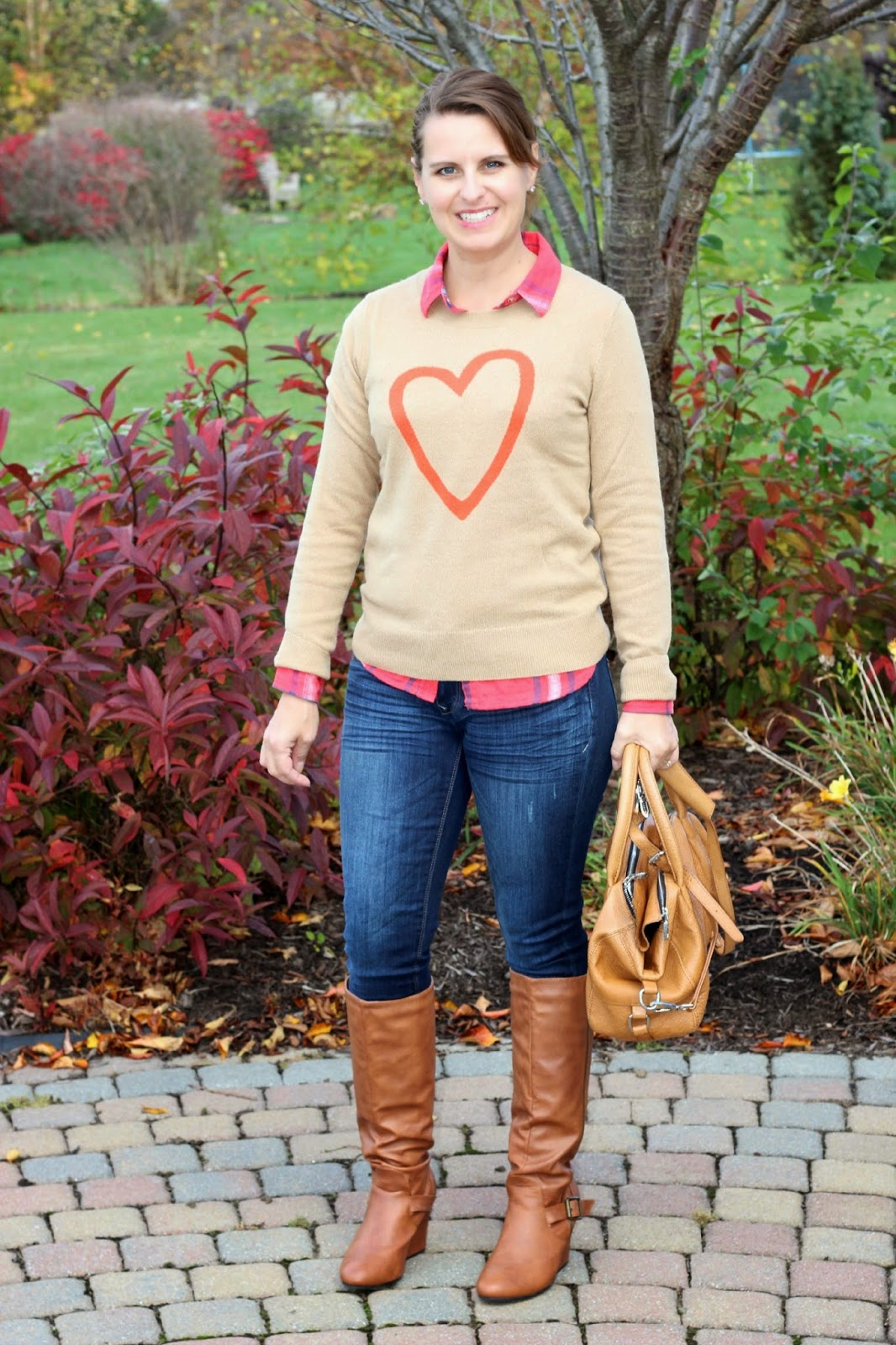 Fall uniform, fall look, sweater layered with plaid shirt, cognac boots and purse
