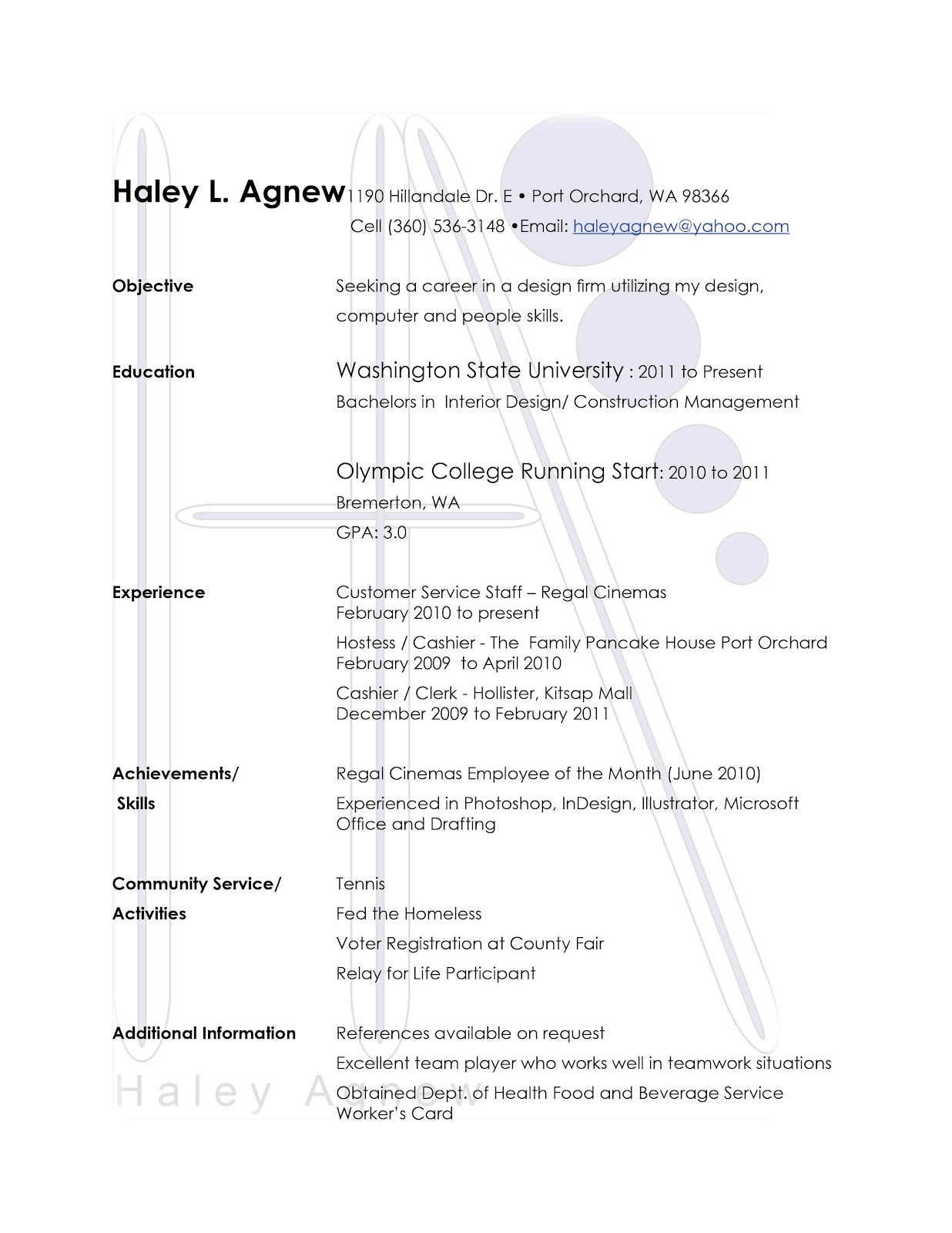Haley Interior Design: Resume