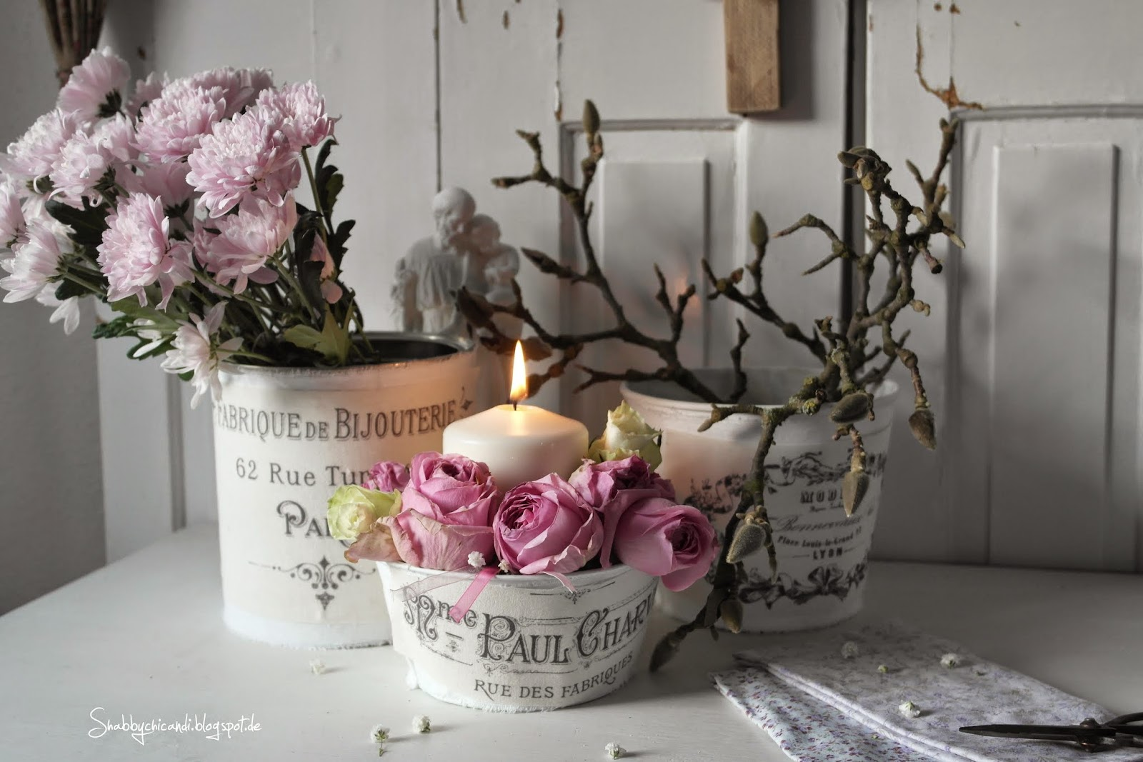 Shabby chic Blumen Arragement