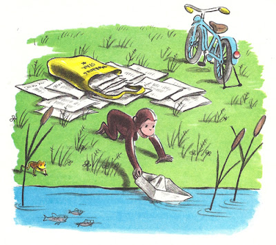 Curious George makes paper boats from newspapers