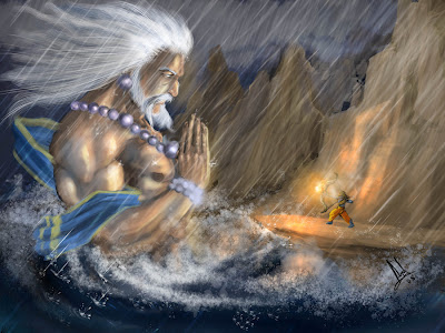 Humbled ocean!This is the incident where lord ram demands the sea to give way to lanka!