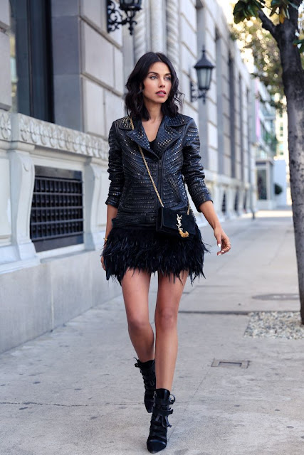 Anabelle LeFleur, how to wear a feather skirt, street style, fashion blogger