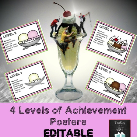 4 Picture Levels of Achievement Posters Ontario Curriculum @ Teachingisagift.blogspot.ca