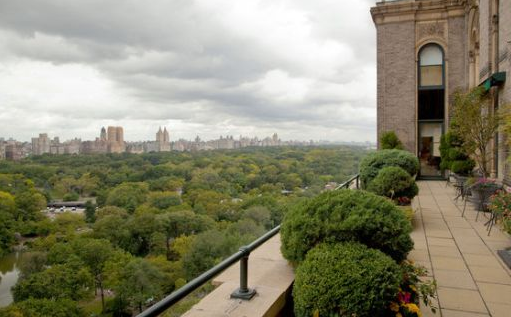 terrace view from sherry netherland apartment flat in manhattan new york city