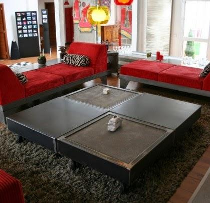 Table beton com une table basse b ton sur roulettes pratique dans le salon - Table basse pratique ...