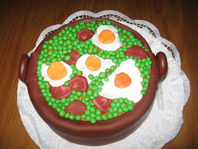 bolo taxo com ervilhas com ovos